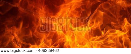 Fire Flame Texture. Blaze Flames Background For Banner. Burning Concept
