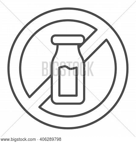 Salt Shaker With Forbidden Sign Thin Line Icon, Diet Concept, Banned Salt Sign On White Background,