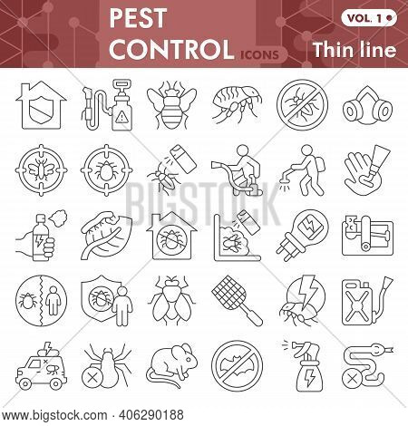 Pest Control Thin Line Icon Set, Anti Pest Symbols Collection Or Sketches. Insect Control Linear Sty