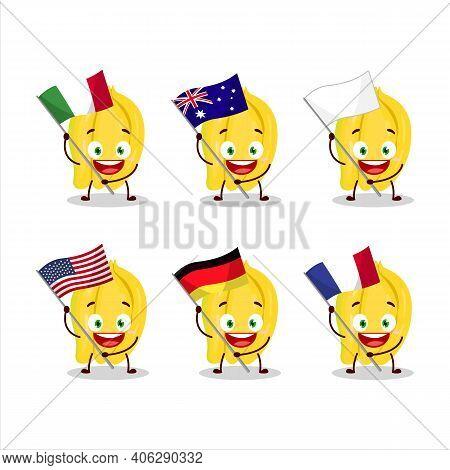Carambola Cartoon Character Bring The Flags Of Various Countries
