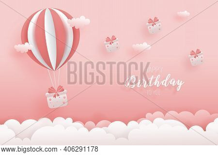 Decorated Birthday Card Delivery With Hot Air Balloon Beautiful Gift Box In Paper Style. Gift Box Ha