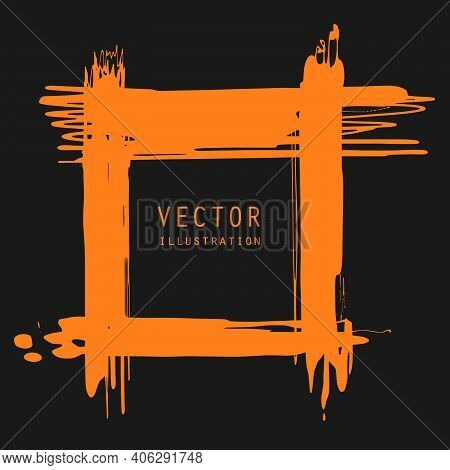 Vector Splats Splashes And Blobs Of Orange Ink Paint In Different Shapes Drips Isolated On Black