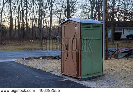 Portable Restroom On House Under Construction In New House