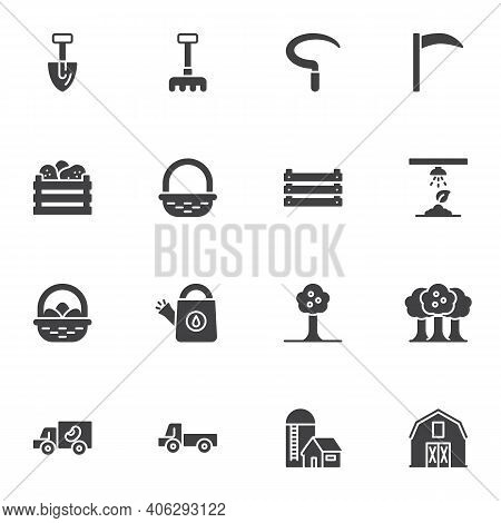 Farming And Gardening Vector Icons Set, Modern Solid Symbol Collection, Filled Style Pictogram Pack.