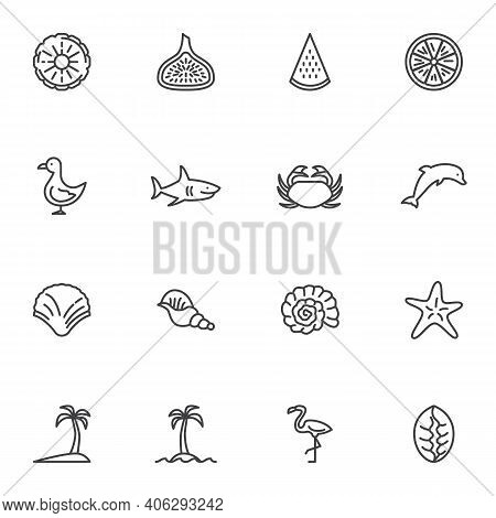 Summer Related Line Icons Set, Outline Vector Symbol Collection, Linear Style Pictogram Pack. Signs,