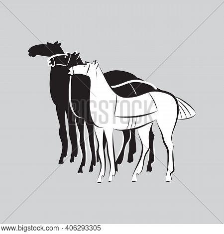 Three Saddled Standing Horses. Black And White Stallions Silhouettes On Gray Background. Minimalisti