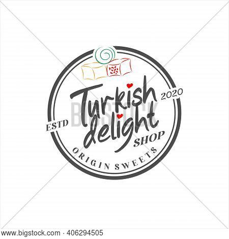 Logo Turkish Delight Simple Typography Traditional Yummy Sweet Candy Vector Icon Label Design Inspir