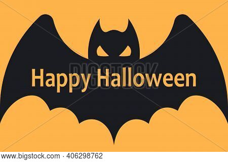 Halloween Background With Flying Bat And Happy Halloween Lettering. Vector Illustration