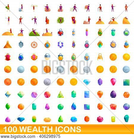 100 Wealth Icons Set. Cartoon Illustration Of 100 Wealth Icons Vector Set Isolated On White Backgrou