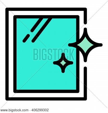 Clean Window Icon. Outline Clean Window Vector Icon For Web Design Isolated On White Background
