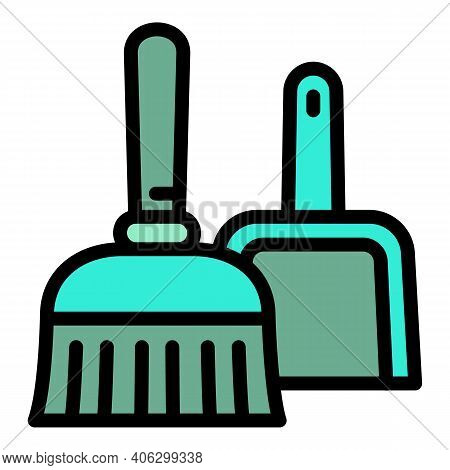 Broom And Dust Pan Icon. Outline Broom And Dust Pan Vector Icon For Web Design Isolated On White Bac