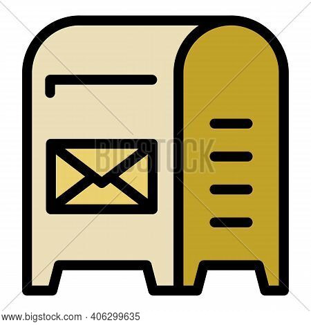 Metal Mailbox Icon. Outline Metal Mailbox Vector Icon For Web Design Isolated On White Background