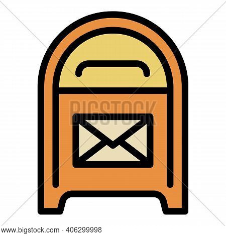 City Street Mailbox Icon. Outline City Street Mailbox Vector Icon For Web Design Isolated On White B