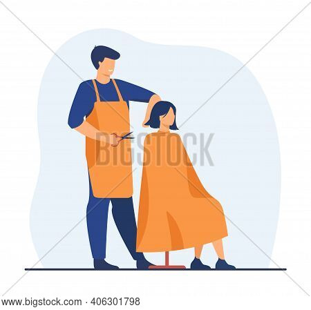 Hairdresser Cutting Hair Of Customer. Woman Visiting Hair Stylist Studio. Flat Vector Illustration.