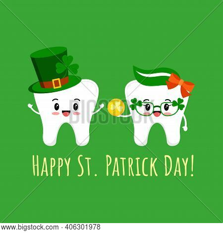 St Patrick Day Teeth In Leprechaun Hat With Shamrock And Glasses With Gold Coin. Dental Tooth Irish