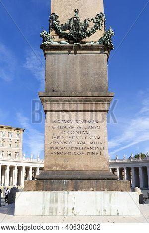Vatican, Rome, Italy - October 9, 2020: The Vatican Obelisk, Originally Taken From Egypt By Caligula