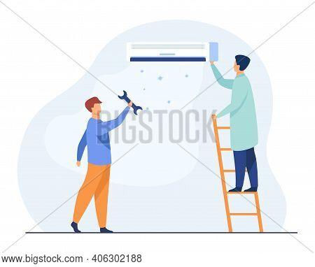 Men Repairing Air Conditioner. Repairmen, Handymen, Servicemen. Flat Vector Illustration. Domestic W