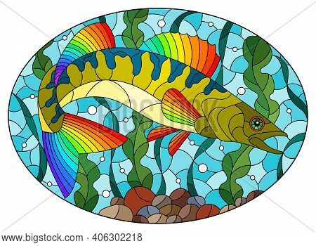 Illustration In Stained Glass Style With An Abstract Pike Perch Fish On A Background Of Algae, Air B