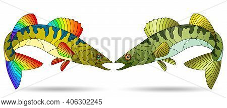 A Stained Glass Illustration With Abstract Pike Perch Fishes Isolated On A White Background