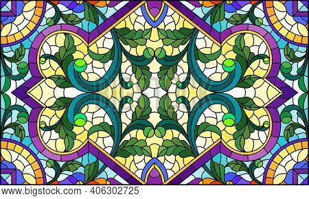 Illustration In Stained Glass Style With Abstract Flowers, Leaves And Curls On A Light Background, R