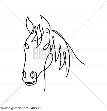 Horse Vector. Horse Head Continuous Line. Horse Head Illustration. Horse Symbol. Horse Graphic Templ