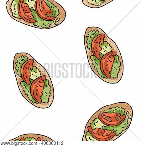 Breakfast Toasts Doodles Seamless Border Pattern. Cute Cartoon Tasty Tapas With Tomatoes And Pesto R