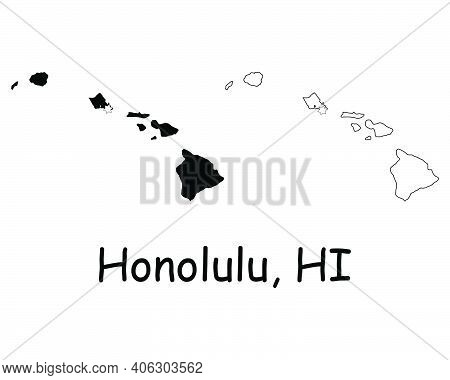 Hawaii Hi State Maps Usa With Capital City Star At Honolulu. Black Silhouette And Outline Isolated O