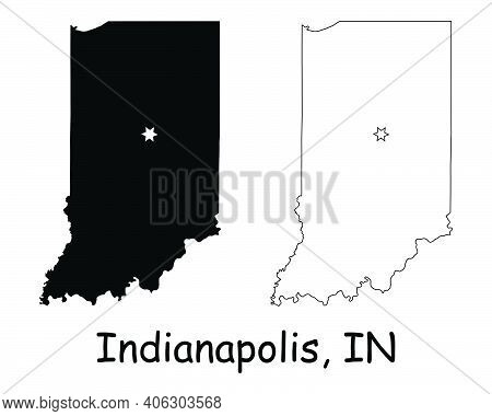 Indiana In State Maps Usa With Capital City Star At Indianapolis. Black Silhouette And Outline Isola
