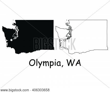 Washington Wa State Map Usa With Capital City Star At Olympia. Black Silhouette And Outline Isolated