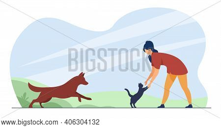 Woman Playing With Pets Outside. Cat And Dog Running To Owner. Flat Vector Illustration. Domestic An