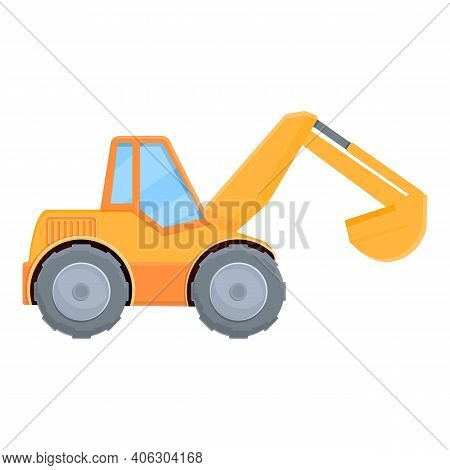 Construction Excavator Icon. Cartoon Of Construction Excavator Vector Icon For Web Design Isolated O