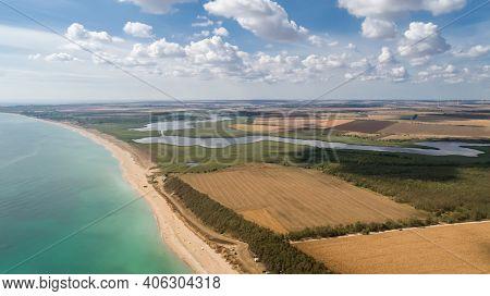 Beautiful Landscape Of Lake, Forest, Beach And Sea. Ezerets And Shabla Lakes And Black Sea Coast In