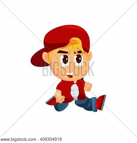 Boy Character With Hat Slide Game Kits Adventure Design Sprite