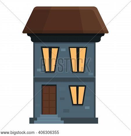 Fear Creepy House Icon. Cartoon Of Fear Creepy House Vector Icon For Web Design Isolated On White Ba