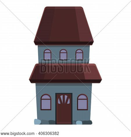 October Creepy House Icon. Cartoon Of October Creepy House Vector Icon For Web Design Isolated On Wh