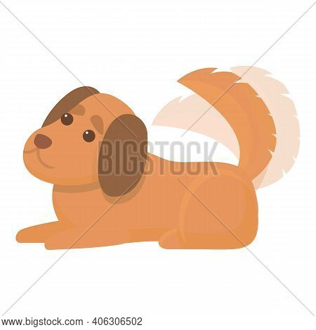 Cute Playful Dog Icon. Cartoon Of Cute Playful Dog Vector Icon For Web Design Isolated On White Back