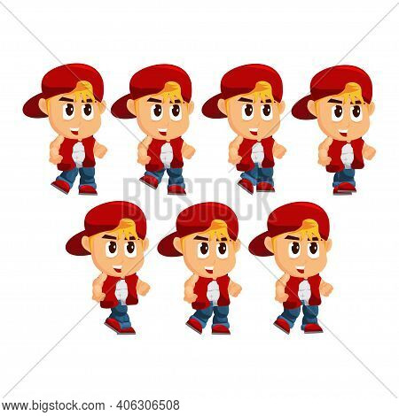 Boy Character With Hat Walk Game Kits Adventure Design Sprite