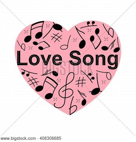 Image Illustration Of Heart-shaped Staff And Musical Notes. Love Song. Musical Heart Background