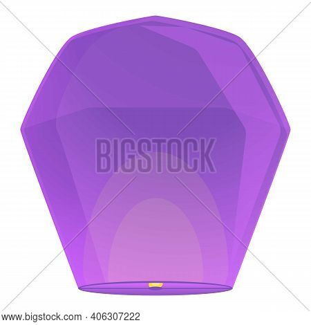 Fly Floating Lantern Icon. Cartoon Of Fly Floating Lantern Vector Icon For Web Design Isolated On Wh