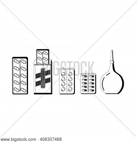 Medicines, Vitamins, Pills, Medical Pills, Bottle Pills. Medical, Pharmaceutical Symbols Isolated On