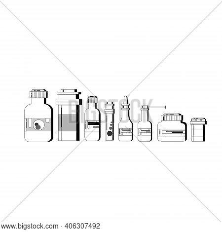Medicine Icon Set. Medicine Bottles With Labels, Bottles For Drugs, Tablets, Capsules, Prescriptions