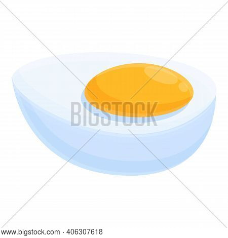 Half Boiled Egg Icon. Cartoon Of Half Boiled Egg Vector Icon For Web Design Isolated On White Backgr