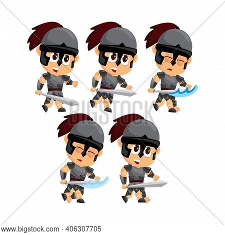 Spartan Cartoon Attack Game Character Animation Sprite Template