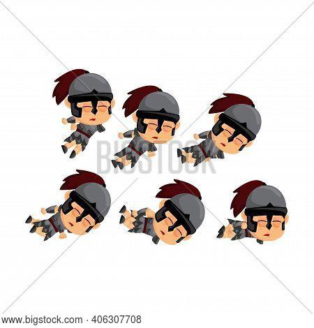 Spartan Cartoon Die Game Character Animation Sprite Template
