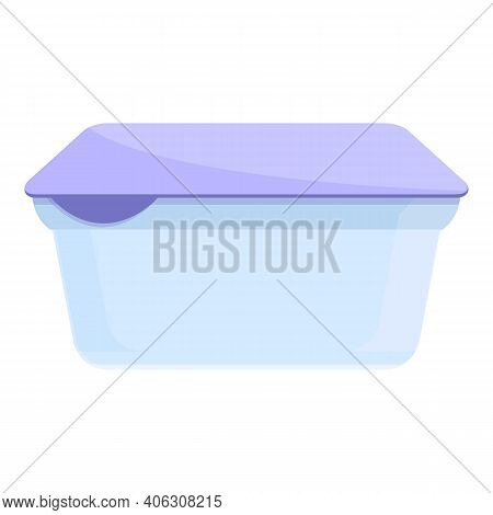 Dairy Plastic Box Icon. Cartoon Of Dairy Plastic Box Vector Icon For Web Design Isolated On White Ba