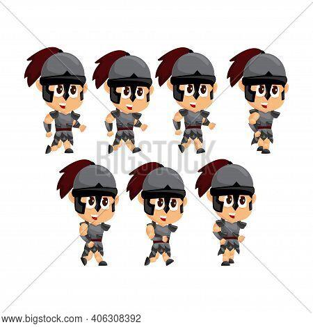 Spartan Cartoon Run Game Character Animation Sprite Template