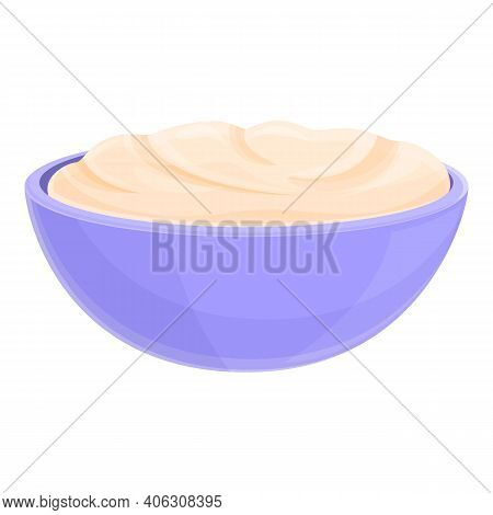 Milk Cream Bowl Icon. Cartoon Of Milk Cream Bowl Vector Icon For Web Design Isolated On White Backgr