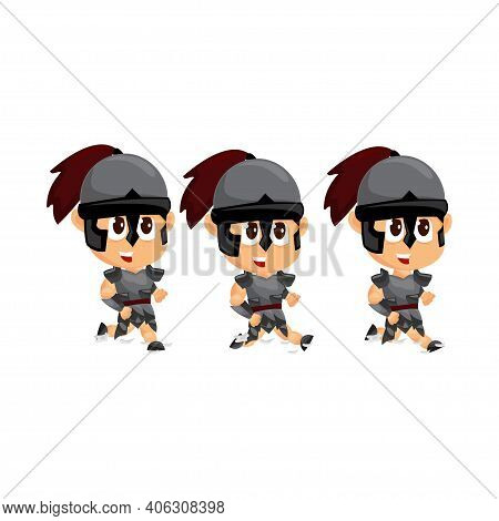 Spartan Cartoon Slide Game Character Animation Sprite Template