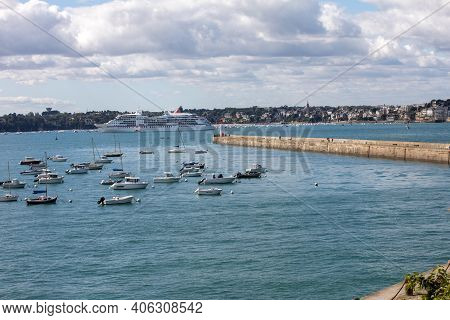 St Malo, France - September 14, 2018: Yachts And Boats Moored In Harbour Of Saint-malo, Brittany, Fr