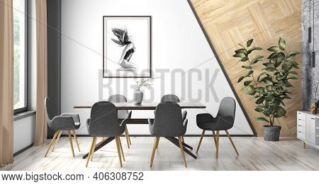 Interior Of Modern Dining Or Living Room, Scandinavian Home With Brown Wooden Table And Black Chairs